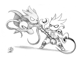 Chibi Battle - Ankhgorian V The Glyph -Zombiesmile by Estonius