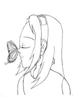 Sakura with a butterfly by Purestrongpoem