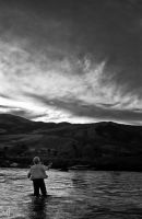 Evening Fly Fishing BW by mjohanson