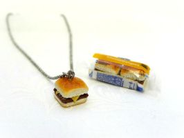 White Castle Cheeseburger Necklace by minivenger