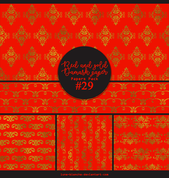 Papers pack #29 - Red and gold damask paper by lune-blanche