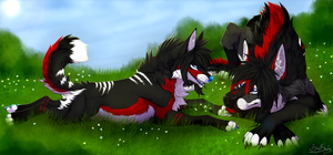 Grass Doggies by xBloodShadow