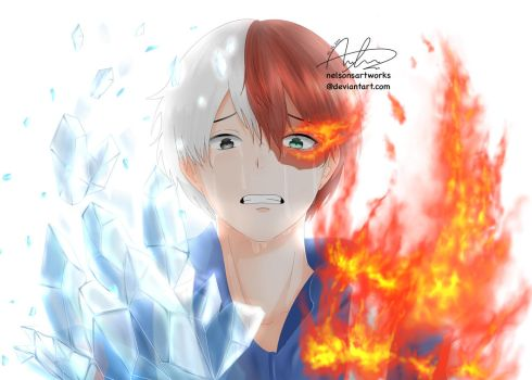 Todoroki Shouto Tears by nelsonsartworks