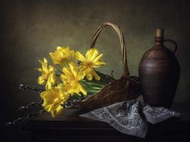Spring still life with tulips by Daykiney