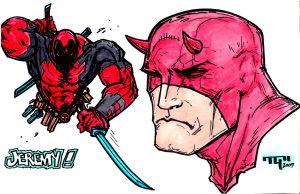 Deadpool and Daredevil Sketch by TaylorGarrity