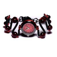 Steamy Goth Red Watch Bracelet by CatherinetteRings