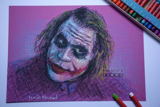 The Joker - Heath Ledger - Oil Pastel and Markers by heidigfx