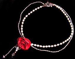 Solitary Rose necklace flat by Oniko-art