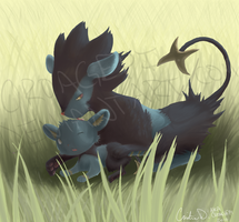 Luxray Mom and Cub by Croagepi