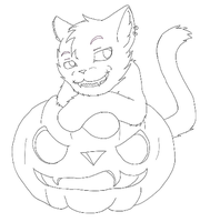 Halloween Cat Lineart by Ryu-chii