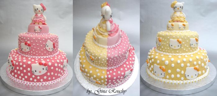 Double Hello Kitty Cake by ginas-cakes