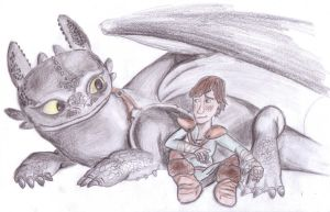 Toothless and Hiccup color by Lardon-Draconis