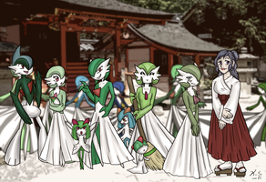 Gardevoir Shrine Greetings by The-Clockwork-Crow