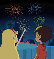 Star and Marco look up the fireworks by Deaf-Machbot