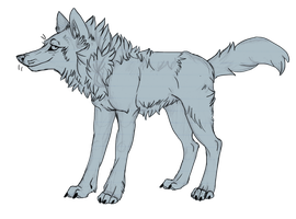 Just lineart of a wolf by Akadafeathers
