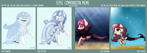 Style Comparison Meme- Peachy and Butterfly by PeachyKat