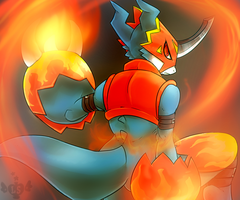 Flamedramon by LoveSpellArt