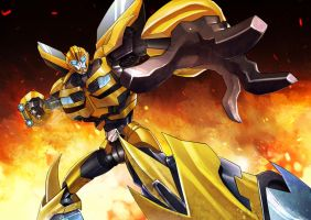 Bumble Bee on fire by papillonstudio