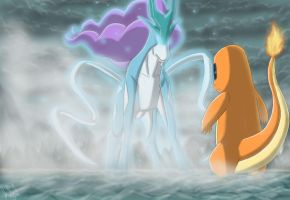 Charmander meets Suicune by eclipse4d