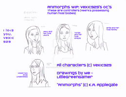Animorphs WIP: Vexic 929's Yeerk OC's by LittleGreenGamer