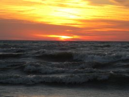 Windy Sunset Over Lake Erie by musicsuperspaz