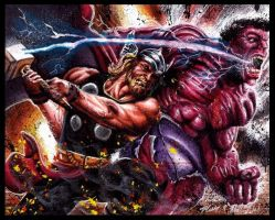 Thor VS Red Hulk by Twynsunz