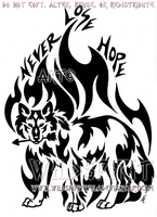 Never Lose Hope - Tribal Flame Wolf Design by WildSpiritWolf
