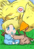 Baby Cloud and Chocobo by ViralJP