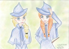 Elsa and Anna: Beauxbatons Students by Sailor-Aria