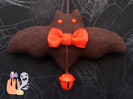 Rustic Simplistic Halloween Orange Bat Door Dangle by 1stQueenOfHalloween