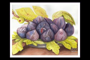Giovanna Garzoni: A Plate of Figs by lilith-darkmoon