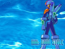 Wallpaper - MegaMan Aqua Style by Shadows-Entity