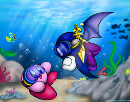 Kirby and Meta Knight - Onion Ocean Love by pikachu-25