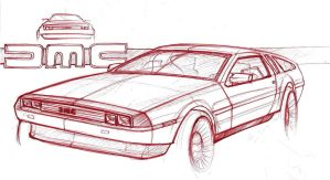 dmc delorean sketch by ecco666