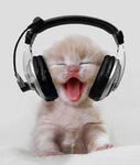 Cat with Headphones (GIF) by xXSakurahluvsKewkiez
