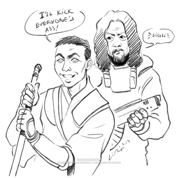 Patreon Sketch -- Chirrut and Baze by SpacelingArt