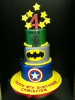 Three Tiered Superhero Cake by Spudnuts