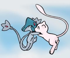 Azelf + Mew Together Colored by sunnyfish