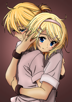 Rin and Len: Huggles by Peaches5189