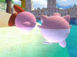 Jigglypuff Wants To Coax Kirby by Panthserv