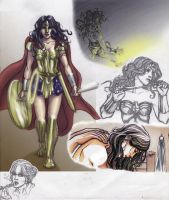 Wonder Woman Sketch Pile by yellowis4happy