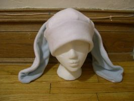 White and baby blue Bunny hat by kittyhats