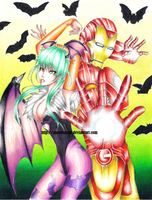 Morrigan and Iron Man: Iron Wings by snow0storm