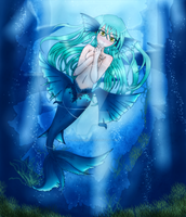Mermaid in ocean by Asuky