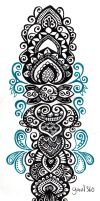 Black and blue abstract totem pole by yael360
