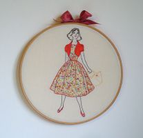 Embroidery 50s lady in a flowery dress by Debbiemade