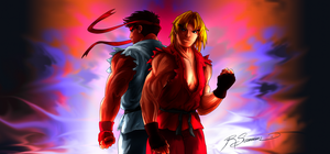 Ryu and Ken fight stick design - back by JA-punkster