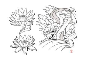 Snake and Lotus Flash by Laranj4