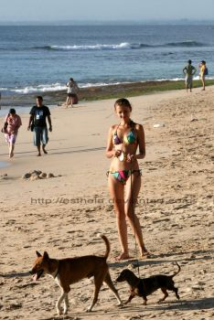 Girl and Dogs by esthela