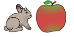 Theo the jackalope next to apple by RusBus94